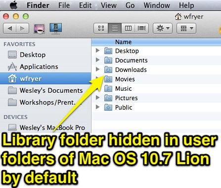 Library folder hiddein in Mac OS 10.7 Lion