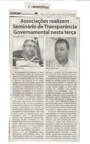 MATÉRIAS SEMINÁRIO TRANSPARÊNCIA GOVERNAMENTAL-ARACAJU