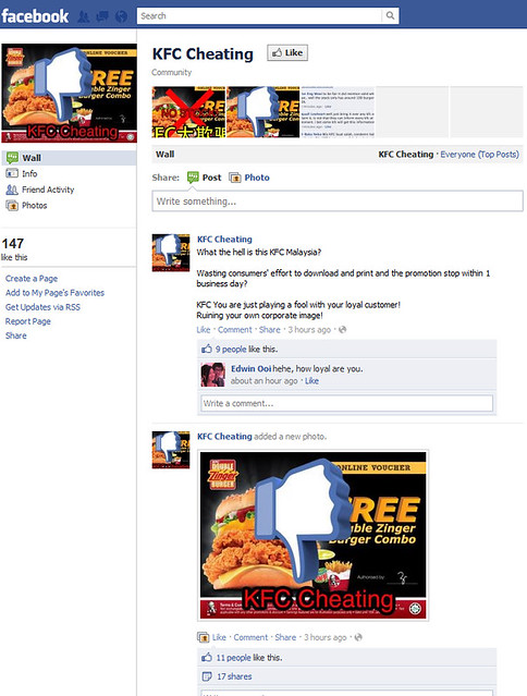 KFC Cheating Facebook Page