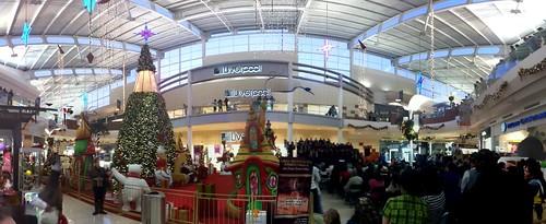 Panorama of the mall - Santa and church choir