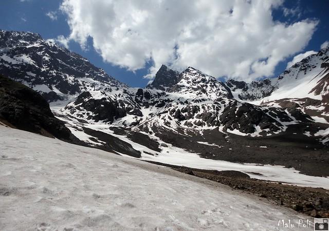 Montanhas nevadas no Chile