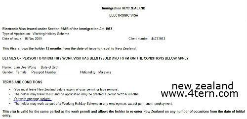 """纽西兰打工度假-显示回程机票证据"""""""