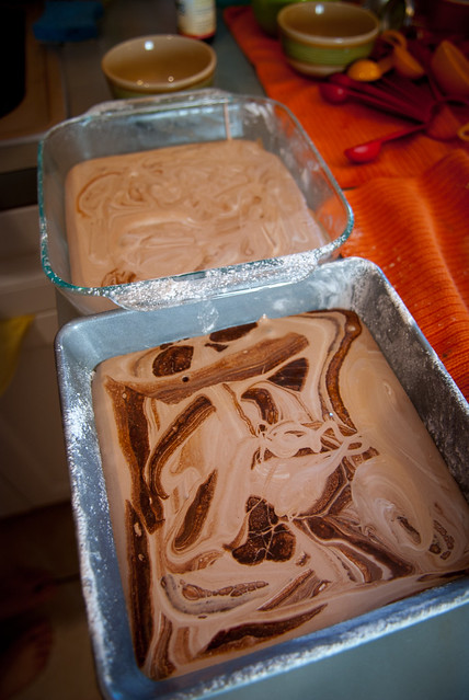 Chocolate swirl marshmallows in their pans