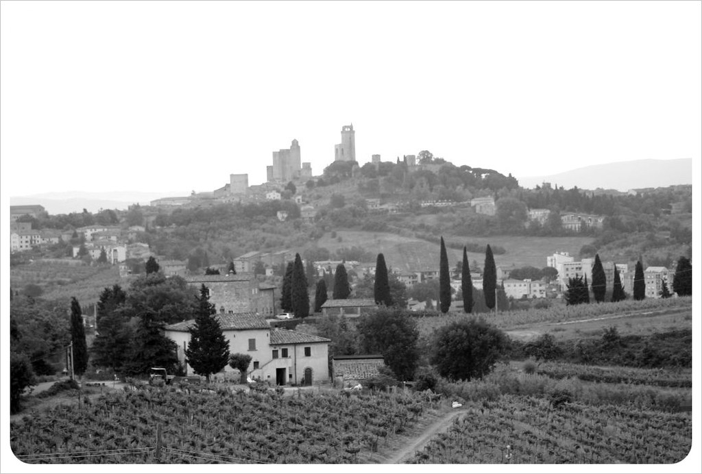 san gimignano on the hill bw