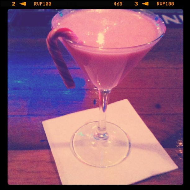 A short break from Christmas shopping for a candy-cane martini at Chameleon