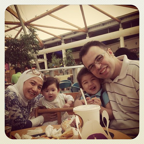 01.01.12 - US at Sahara Mall. Our first family photo for this year. Alhamdulillah!