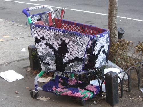 crocheted shopping cart