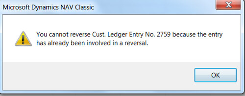 You cannot reverse Cust. Ledger Entry No. because the entry has already been involved in a reversal