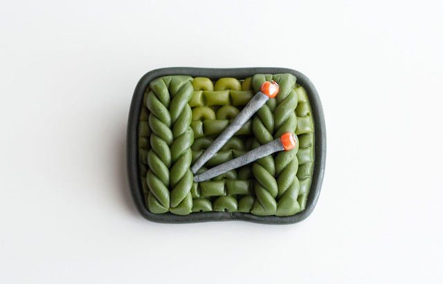 Green Knitting Brooch