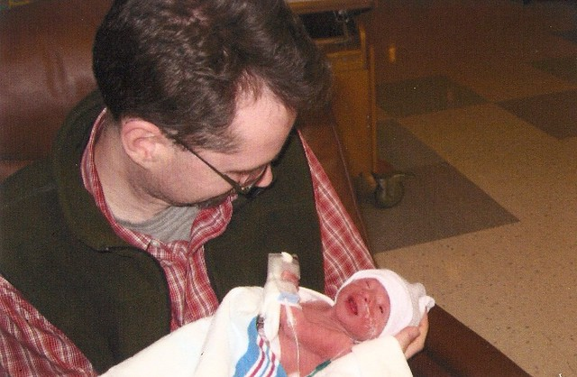 Niles with Karl, first time holding, 2-18-2009