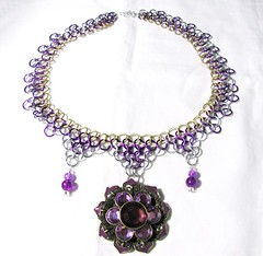 Purple, Gold and Silver Chainmaille Necklace