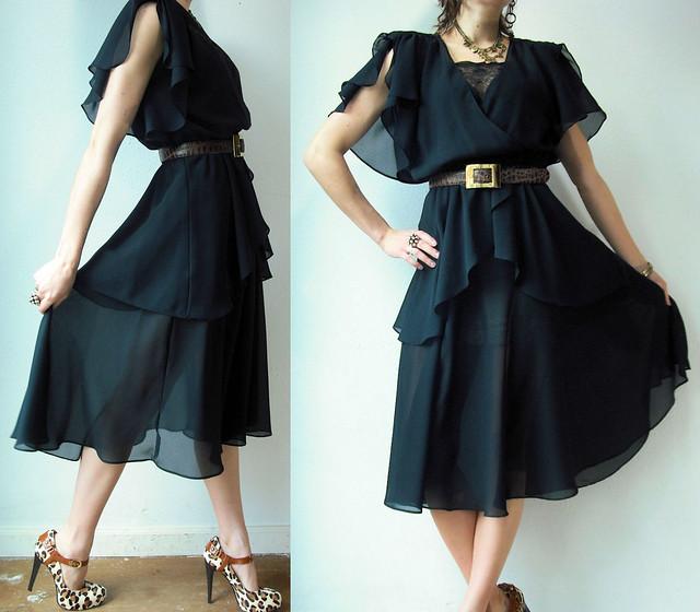 black draped chiffon goddess dress