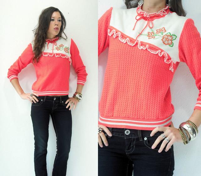 fluorescent melon sweater