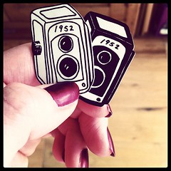 Box camera pin badges