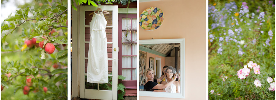 Bridal preparations and wedding dress at Mt. Hood Organic Farms