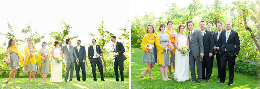 Happy wedding party standing in orchard at Mt. Hood Organic Farms.