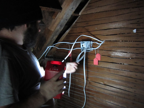 a new junction box in the attic