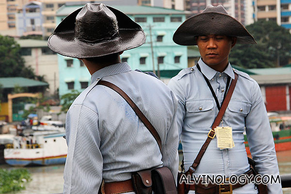 Uniformed guards at the fort