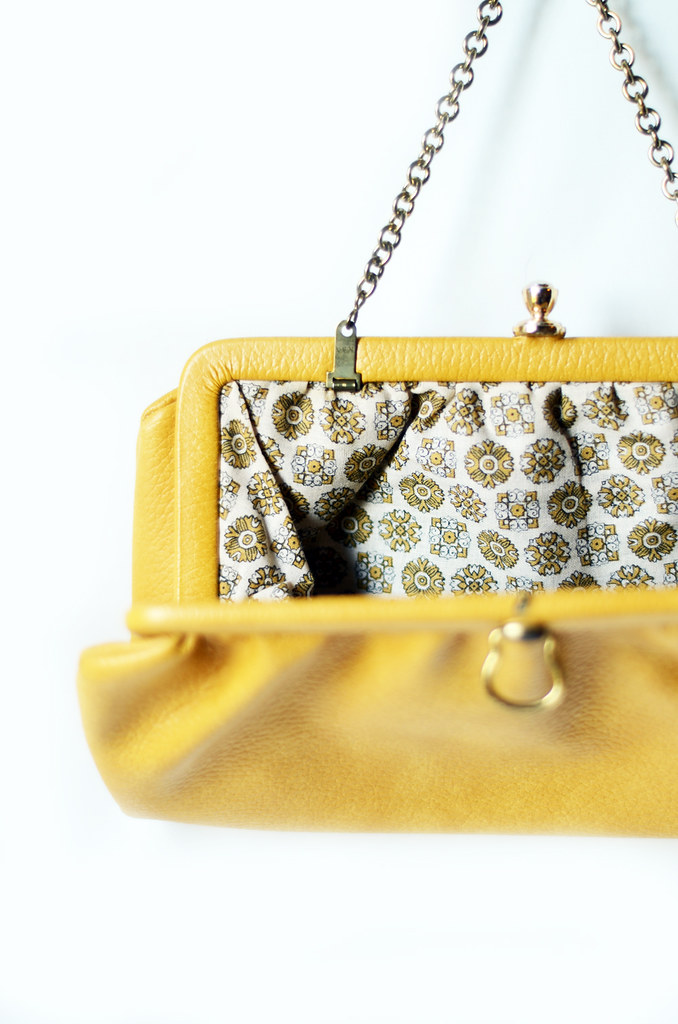 Vintage Yellow Vinyl Purse