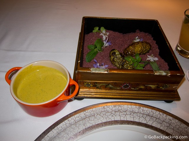 Tubers with shredded almonds, served with mustard sauce