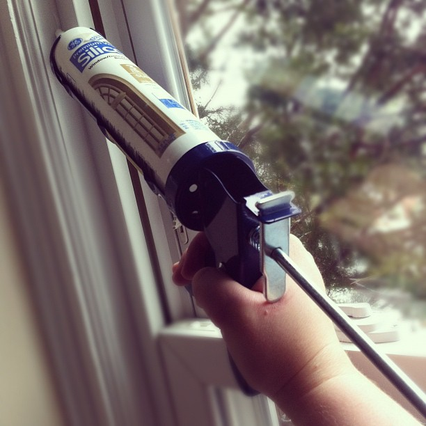 Afternoon project: learning how to wield a caulk gun (with help from YouTube).