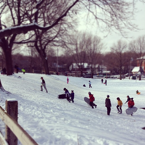 Sunday morning sledding at Brookline Hills