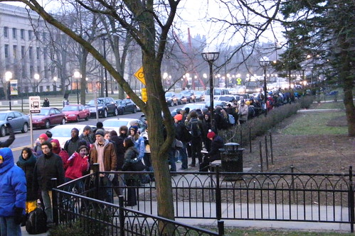 229/365/1324 (January 26, 2012) – People Waiting in Line for tickets for President Obama's Speech at the University of Michigan (January 26, 2012)
