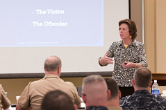 PEARL HARBOR (Jan. 31, 2012) Guest speaker Ann Munch, a career prosecutor and advocate for victims of domestic violence, sexual assault and stalking, gives a talk to senior Navy leadership in Hawaii at Joint Base Pearl Harbor-Hickam as part of a Personal Readiness Summit. (U.S. Navy photo by Mass Communication Specialist 2nd Class (SW) Mark Logico)