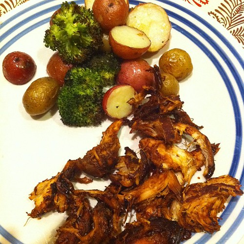 Crockpot BBQ Chicken + Roasted Taters & Broccoli