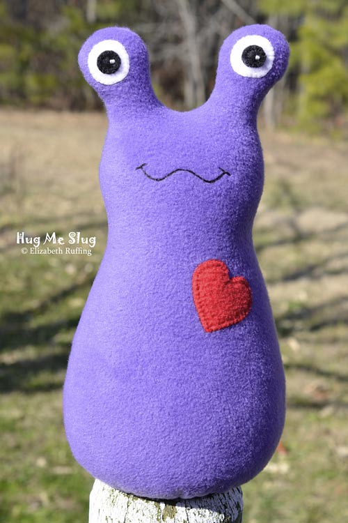 Purple Hug Me Slug, original art toys by Elizabeth Ruffing