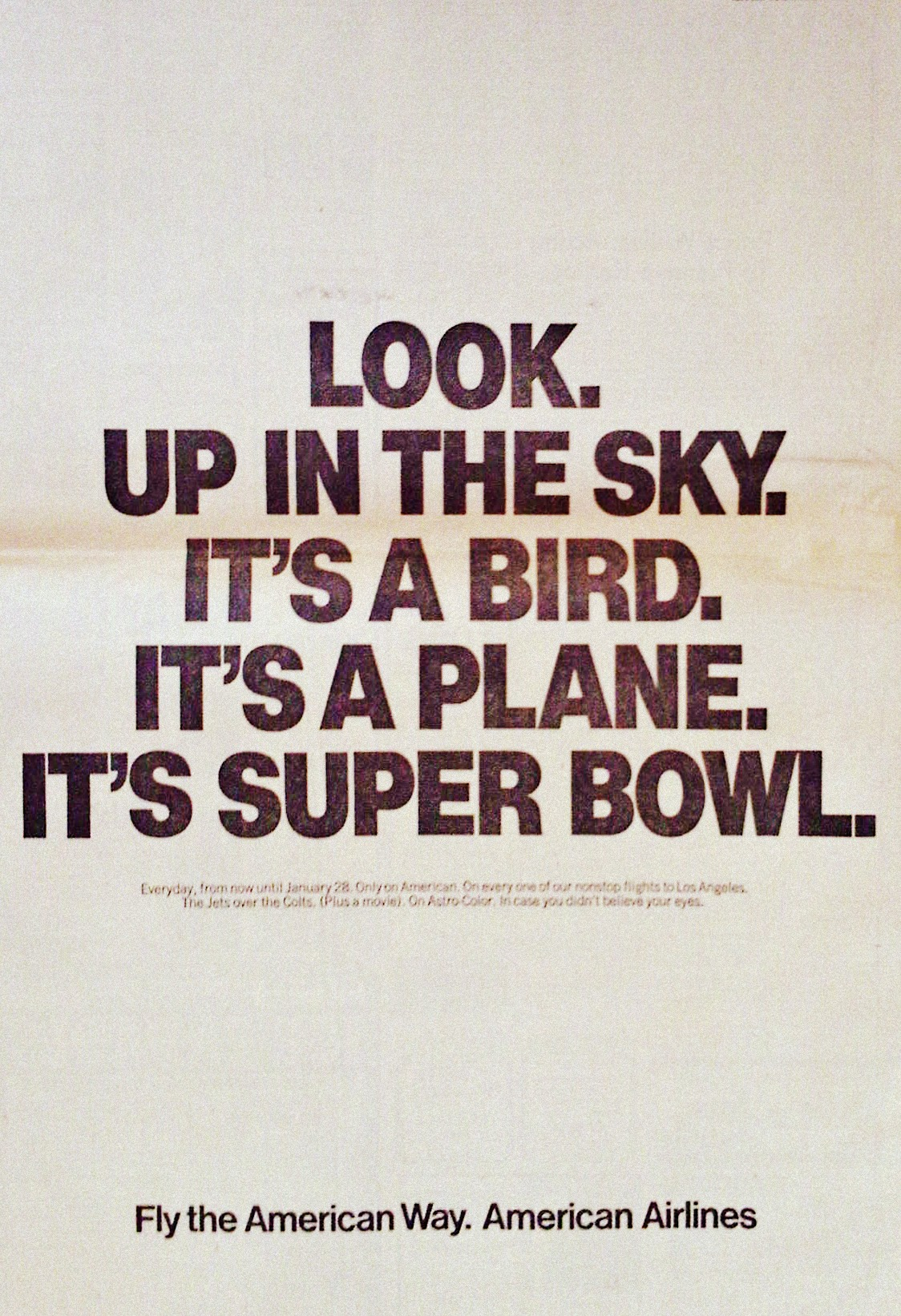 American Airlines Super Bowl III 1969
