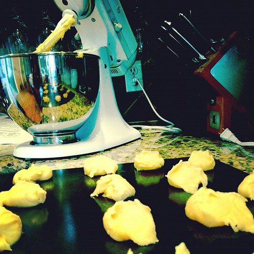 Photo a day- Day 5- 10am. Making cream puffs for the super bowl party tonight.
