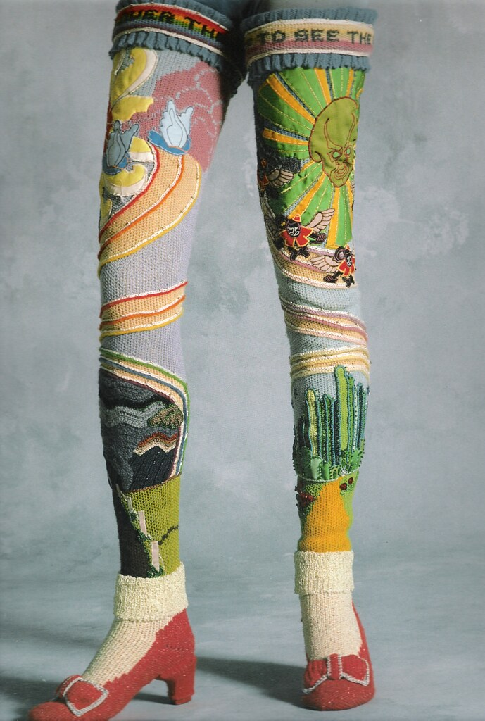 Susanna Lewis Oz Socks 1978 Wool, cotton, rayon, nylon, and linen yarns, satin, beads, plastic heels. Loom knitted, appliqued, crocheted