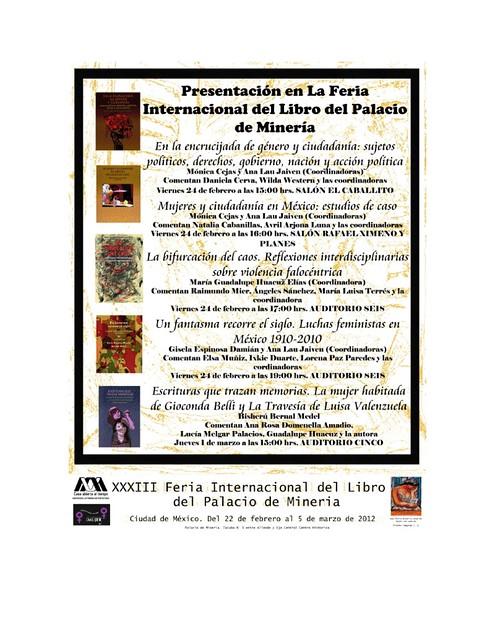 RESENTACIONES DE LIBROS DE LA MAESTRÍA EN ESTUDIOS DE LA MUJER EN LA FERIA DEL LIBRO DEL PALACIO DE MINERÍA