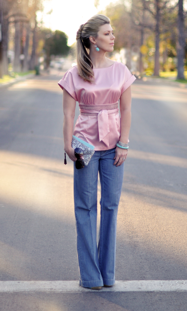pink satin top and wide leg jeans - aqua and pink-sparkles-hair, outfit, fashion, hair, LA, fashion blogs