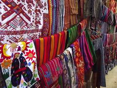 Handmade textiles at Chichicastenango market