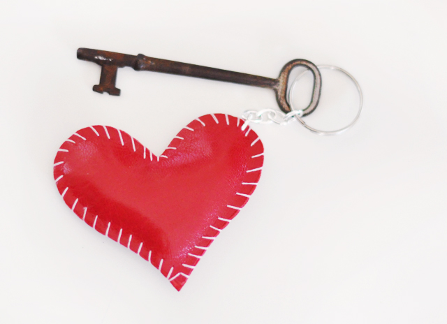 heart keychain with antique  key