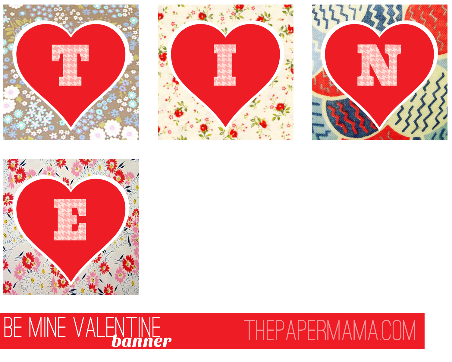 image relating to Valentine Banner Printable known as Variables in direction of take pleasure in + Valentines banner freebie! - The Paper Mama