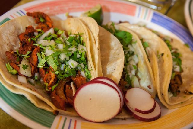Longaniza and al pastor tacos, Las Delicias Mexicanas