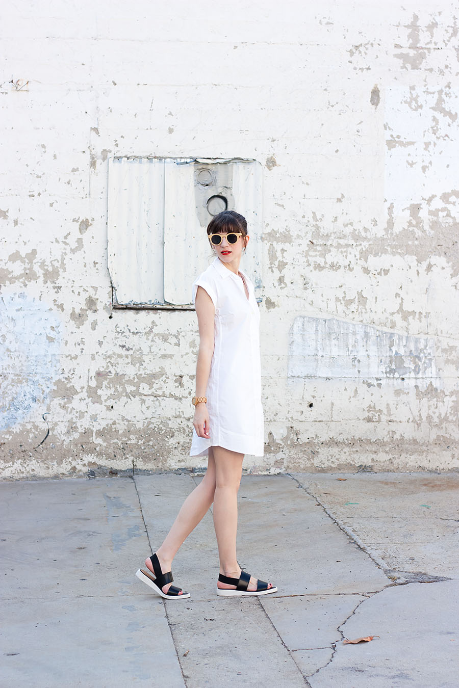 Summer Shirtdress, Everlane Street Sandal, Panda Sunglasses