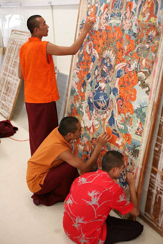 Monks at work. Image courtesy Princess Ashi Kesang