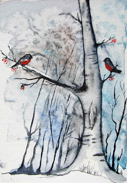 winter holiday greetings, bullfinches