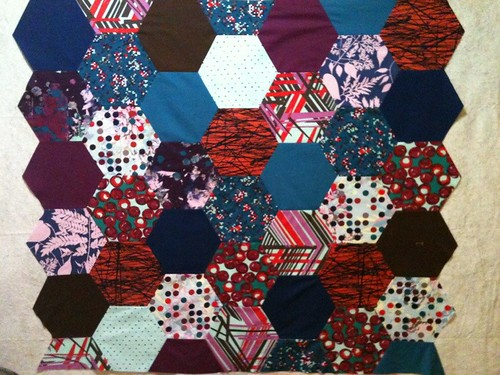 Hexagon quilt with Jay McCarroll fabric by HeatherEndearing
