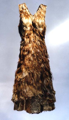 a sleeveless dress made out of hair