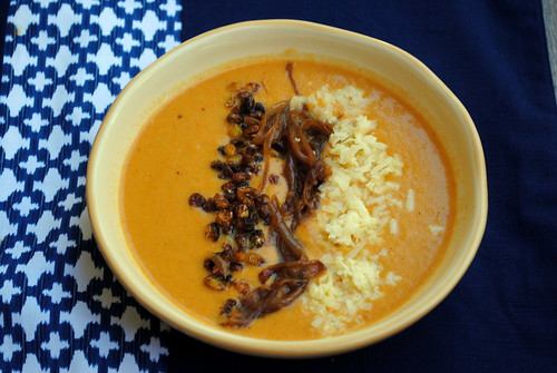 Corn Soup with Caramelized Onions & White Cheddar