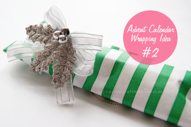 Wrapping idea: stripy bag + decoration