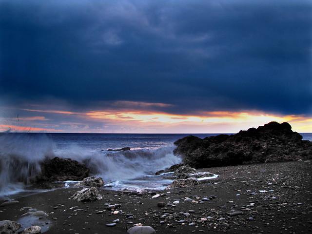 Seaham's stormy sunrise.