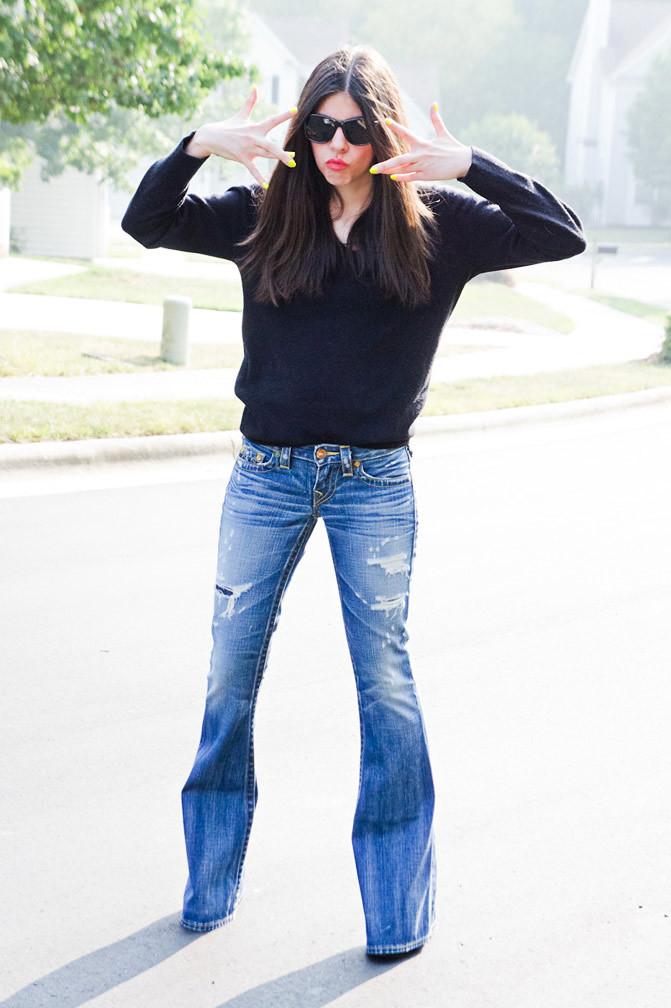 Christian Dior sweater, True Religion Carrie Bell Bottom Jeans, Ray Ban Wayfarer sunglasses