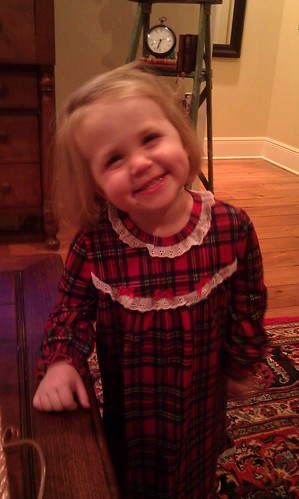 Anna in her Christmas nightgown. by sweet mondays