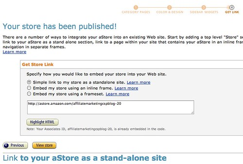 Amazon.com Associates Central - aStore: Get Link